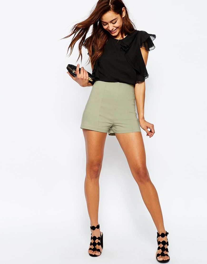 Bengaline Hotpant Sage - pattern: plain; waist: high rise; predominant colour: khaki; occasions: evening; fibres: polyester/polyamide - stretch; pattern type: fabric; texture group: other - clingy; season: s/s 2016; style: hot pants; length: short shorts; fit: slim leg