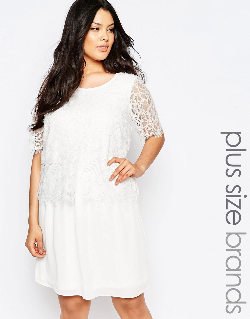 Lace Overlay Swing Dress White - style: smock; fit: loose; predominant colour: white; occasions: evening, occasion; length: just above the knee; neckline: scoop; fibres: polyester/polyamide - 100%; hip detail: soft pleats at hip/draping at hip/flared at hip; sleeve length: short sleeve; sleeve style: standard; texture group: sheer fabrics/chiffon/organza etc.; pattern type: fabric; pattern size: light/subtle; pattern: patterned/print; embellishment: lace; shoulder detail: sheer at shoulder; season: s/s 2016