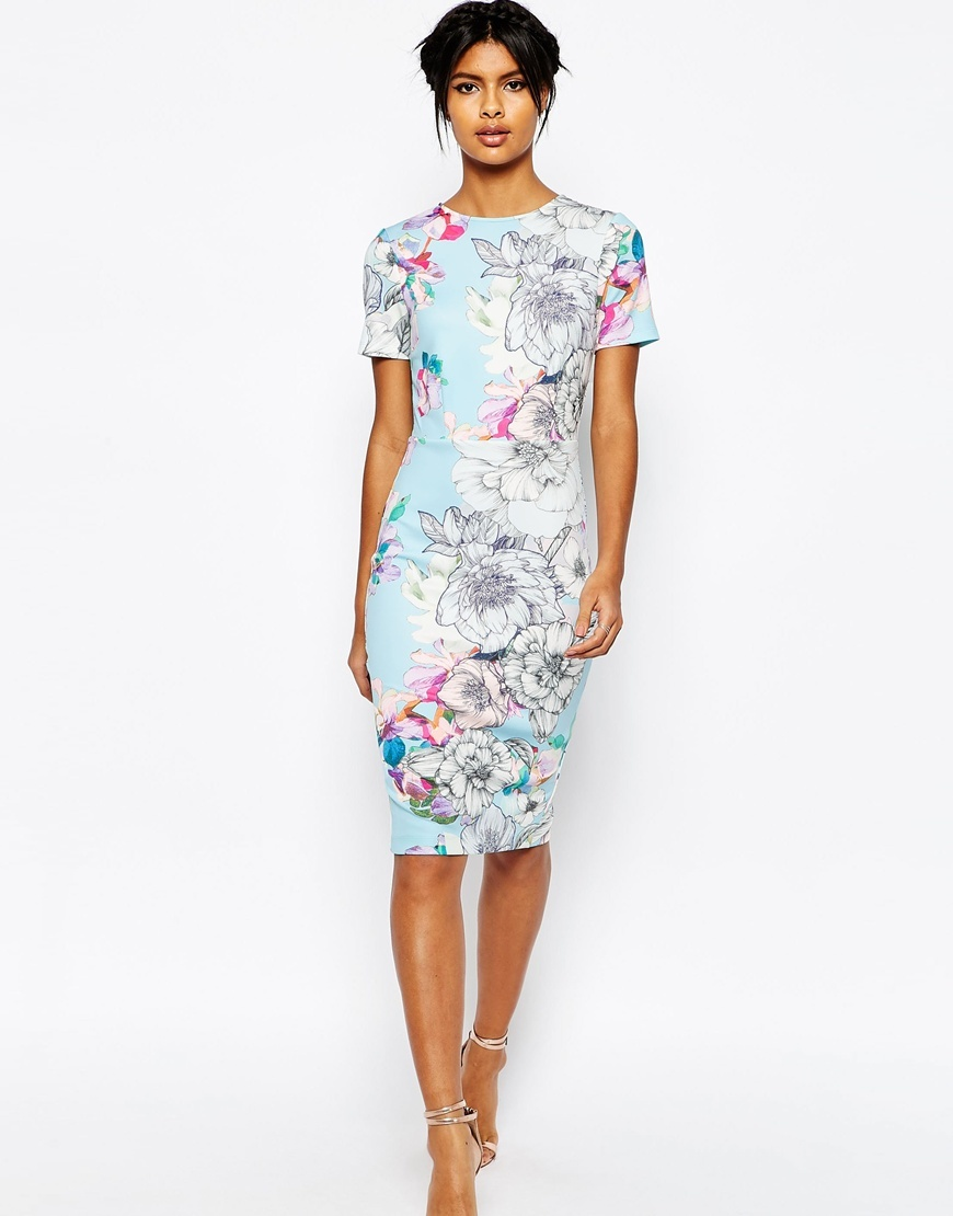 Floral T Shirt Scuba Bodycon Midi Dress Pale Blue - style: shift; fit: tailored/fitted; secondary colour: hot pink; predominant colour: pale blue; occasions: evening; length: on the knee; fibres: polyester/polyamide - 100%; neckline: crew; sleeve length: short sleeve; sleeve style: standard; pattern type: fabric; pattern: patterned/print; texture group: woven light midweight; multicoloured: multicoloured; season: s/s 2016; wardrobe: event