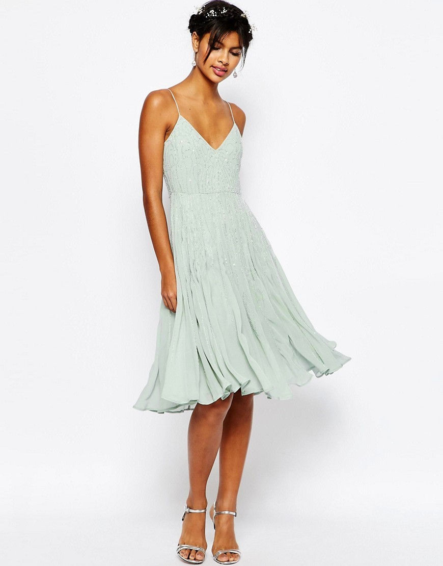 Wedding Embellished Cami Midi Dress Soft Mint - length: below the knee; neckline: low v-neck; pattern: plain; sleeve style: sleeveless; predominant colour: pistachio; occasions: evening, occasion; fit: fitted at waist & bust; style: slip dress; fibres: viscose/rayon - 100%; sleeve length: sleeveless; pattern type: fabric; texture group: other - light to midweight; season: s/s 2016; wardrobe: event