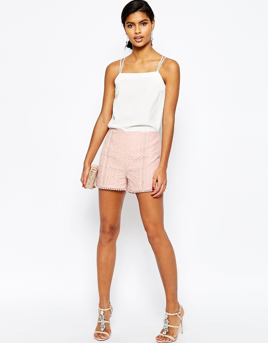 Lace Occasion Shorts Nude - pattern: plain; waist: high rise; predominant colour: blush; occasions: casual, evening; fibres: cotton - 100%; texture group: cotton feel fabrics; pattern type: fabric; season: s/s 2016; wardrobe: basic; style: shorts; length: short shorts; fit: slim leg