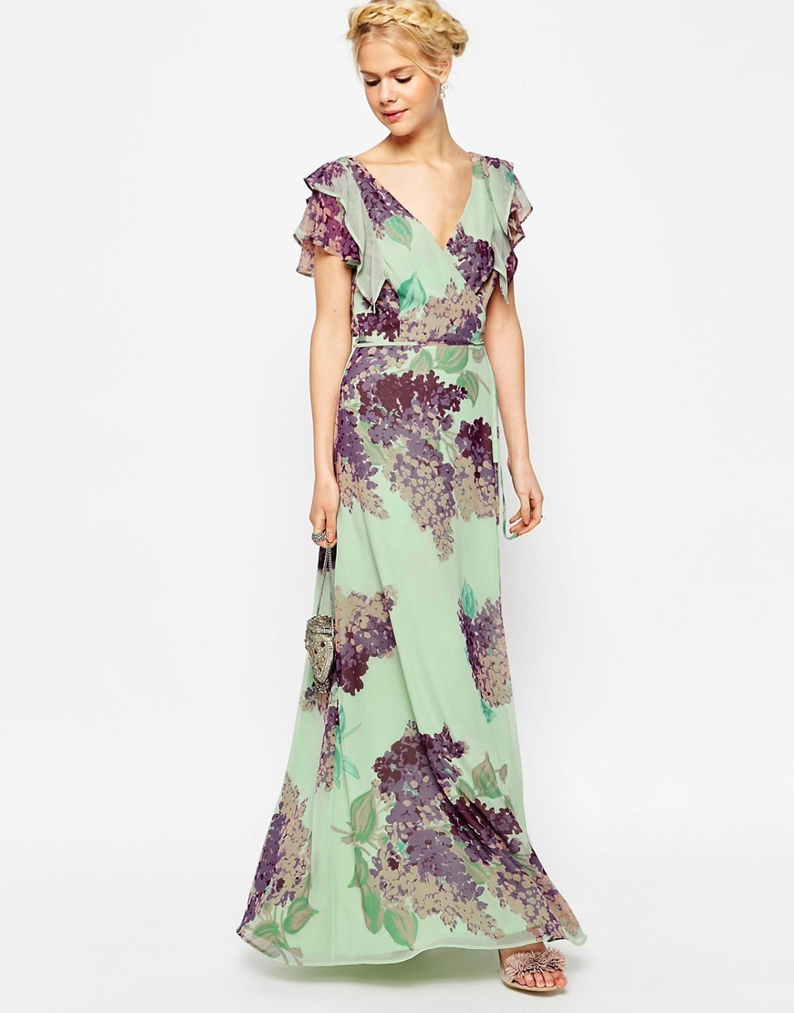 Frill Tea Maxi Dress In Floral Print Multi - neckline: low v-neck; sleeve style: angel/waterfall; style: maxi dress; length: ankle length; waist detail: fitted waist; secondary colour: aubergine; predominant colour: pistachio; occasions: evening; fit: fitted at waist & bust; fibres: polyester/polyamide - 100%; hip detail: subtle/flattering hip detail; sleeve length: short sleeve; texture group: sheer fabrics/chiffon/organza etc.; pattern type: fabric; pattern size: big & busy; pattern: florals; multicoloured: multicoloured; season: s/s 2016; wardrobe: event