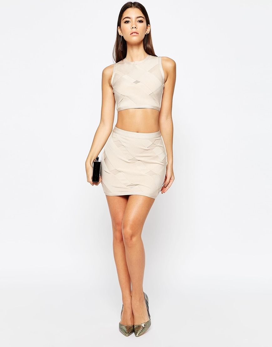 Night Bandage Crossover Mini Skirt Co Ord Nude - length: mini; pattern: plain; fit: tight; waist: mid/regular rise; predominant colour: blush; occasions: evening; style: mini skirt; fibres: viscose/rayon - stretch; texture group: jersey - clingy; pattern type: fabric; season: s/s 2016; wardrobe: event