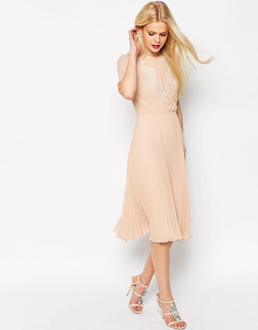 Lace And Pleat Skater Midi Dress Blush - style: shift; length: below the knee; pattern: plain; secondary colour: ivory/cream; predominant colour: blush; occasions: evening, occasion; fit: soft a-line; fibres: polyester/polyamide - 100%; neckline: crew; sleeve length: short sleeve; sleeve style: standard; texture group: sheer fabrics/chiffon/organza etc.; pattern type: fabric; embellishment: lace; season: s/s 2016; wardrobe: event; embellishment location: top