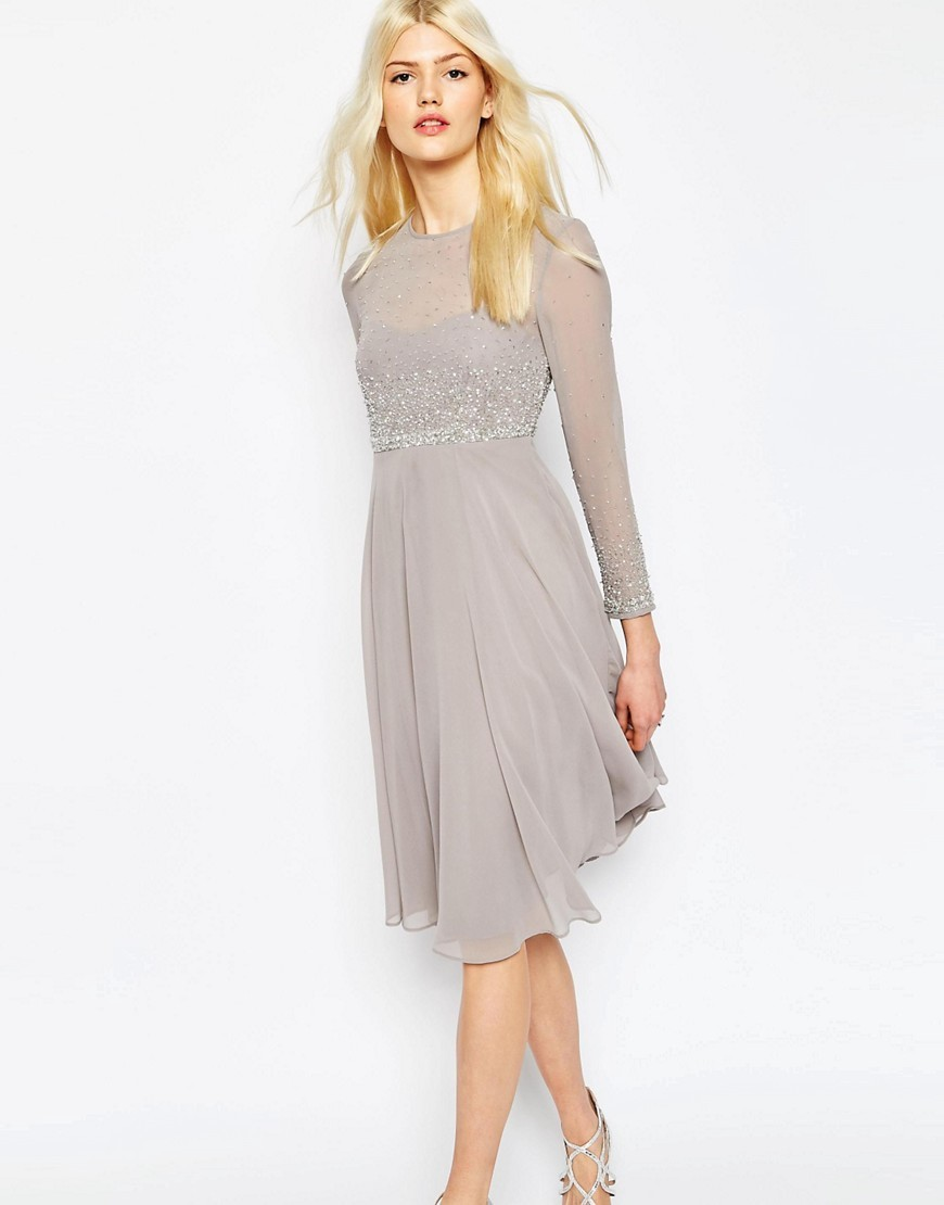 Delicate Scattered Embellished Soft Midi Skater Dress Grey - length: below the knee; pattern: plain; predominant colour: light grey; occasions: evening, occasion; fit: fitted at waist & bust; style: fit & flare; fibres: polyester/polyamide - 100%; neckline: crew; sleeve length: long sleeve; sleeve style: standard; texture group: sheer fabrics/chiffon/organza etc.; pattern type: fabric; embellishment: beading; season: s/s 2016; wardrobe: event