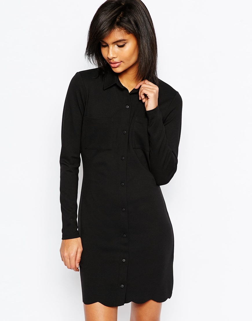 Shirt Dress With Scallop Hem Black - style: shirt; length: mid thigh; neckline: shirt collar/peter pan/zip with opening; pattern: plain; predominant colour: black; occasions: evening; fit: body skimming; fibres: viscose/rayon - stretch; sleeve length: long sleeve; sleeve style: standard; pattern type: fabric; texture group: jersey - stretchy/drapey; season: s/s 2016; wardrobe: event