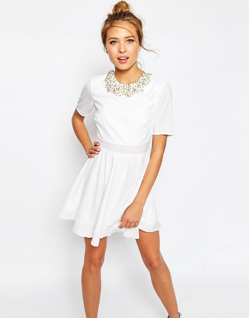 Embellished Cluster Crop Top Mini Dress White - length: mid thigh; pattern: plain; predominant colour: white; occasions: evening; fit: fitted at waist & bust; style: fit & flare; fibres: polyester/polyamide - 100%; neckline: crew; sleeve length: short sleeve; sleeve style: standard; texture group: sheer fabrics/chiffon/organza etc.; pattern type: fabric; embellishment: crystals/glass; season: s/s 2016; wardrobe: event; embellishment location: neck