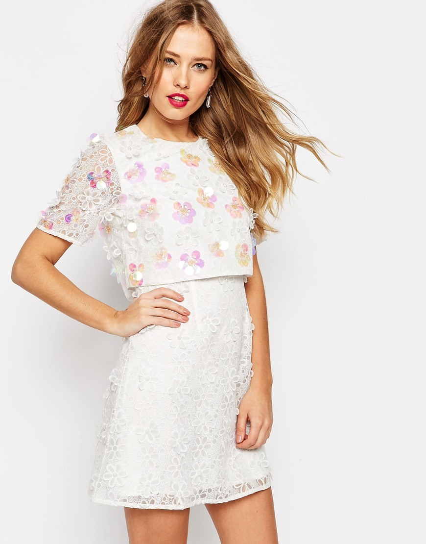 Salon 3 D Floral Lace Embroidered Crop Top Mini Dress White - style: shift; length: mini; fit: tailored/fitted; predominant colour: white; occasions: evening; fibres: polyester/polyamide - 100%; neckline: crew; sleeve length: short sleeve; sleeve style: standard; texture group: lace; pattern type: fabric; pattern: patterned/print; embellishment: sequins; season: s/s 2016; wardrobe: event; embellishment location: top