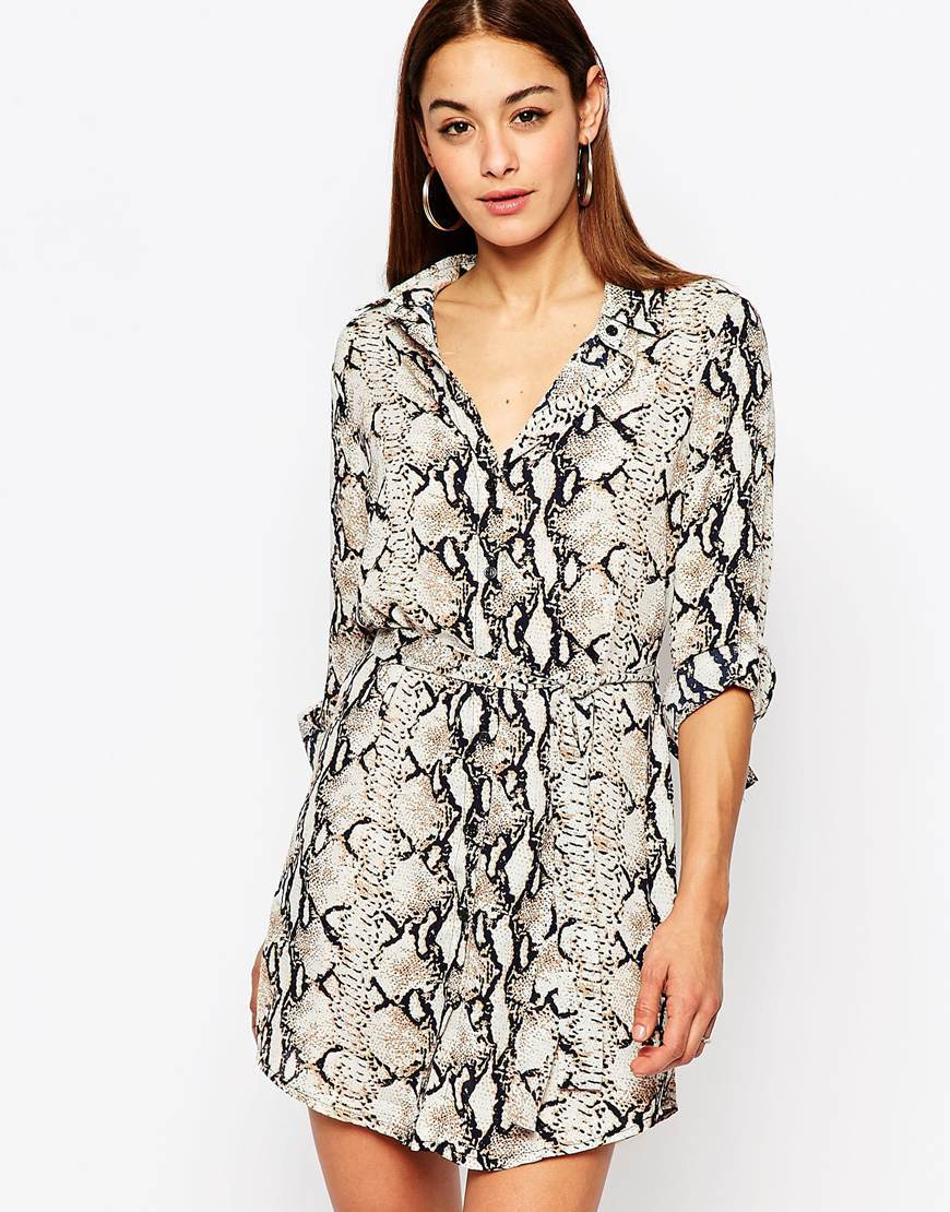 Animal Print Shirt Dress Multi - style: shirt; length: mid thigh; neckline: shirt collar/peter pan/zip with opening; waist detail: belted waist/tie at waist/drawstring; secondary colour: white; predominant colour: light grey; occasions: casual; fit: body skimming; fibres: polyester/polyamide - 100%; sleeve length: half sleeve; sleeve style: standard; pattern type: fabric; pattern: animal print; texture group: other - light to midweight; multicoloured: multicoloured; season: s/s 2016