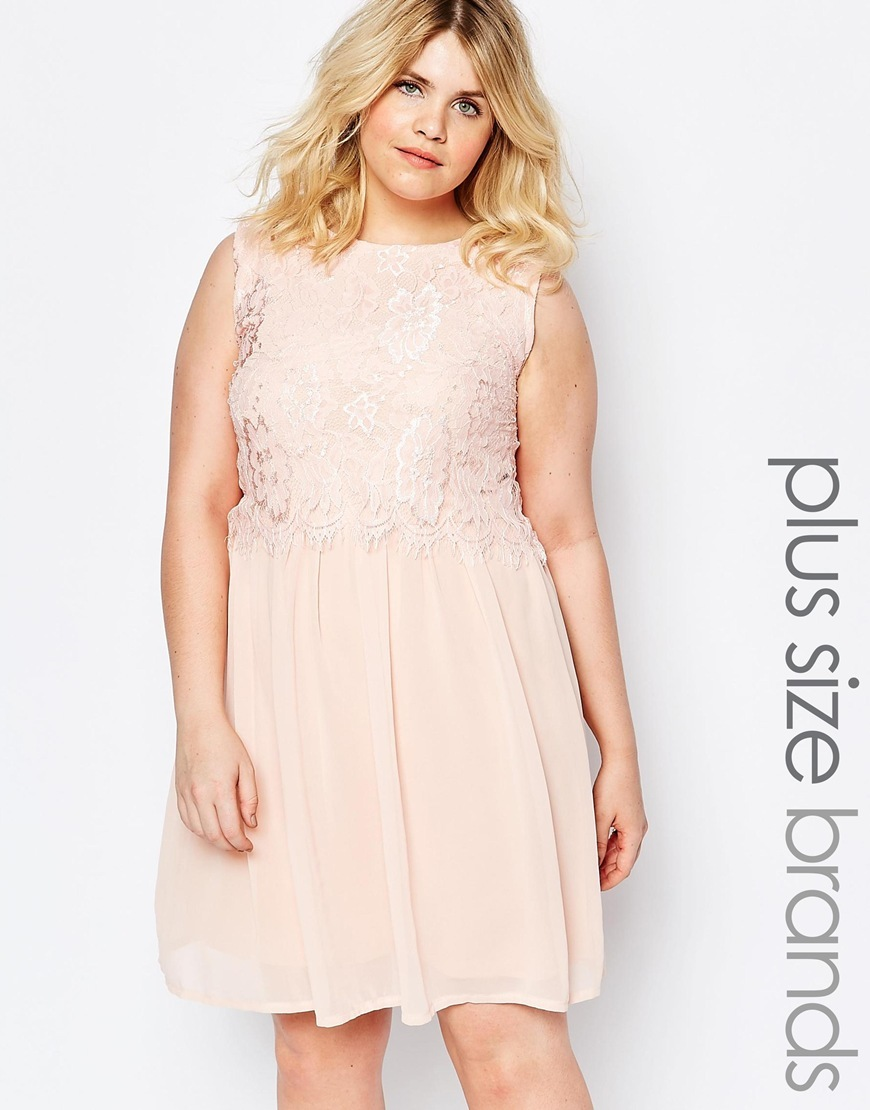 Plus Dress With Eyelash Lace Top Pale Pink - pattern: plain; sleeve style: sleeveless; predominant colour: blush; occasions: evening; length: just above the knee; fit: fitted at waist & bust; style: fit & flare; fibres: polyester/polyamide - 100%; neckline: crew; sleeve length: sleeveless; texture group: sheer fabrics/chiffon/organza etc.; pattern type: fabric; embellishment: lace; season: s/s 2016