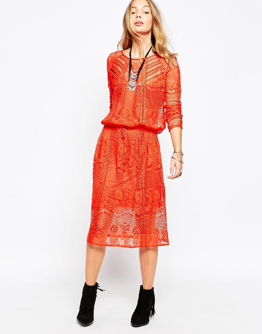 Luna Lace Dress Pimento - length: below the knee; neckline: round neck; fit: fitted at waist; style: blouson; waist detail: fitted waist; predominant colour: bright orange; occasions: casual, creative work; fibres: polyester/polyamide - 100%; hip detail: subtle/flattering hip detail; sleeve length: 3/4 length; sleeve style: standard; texture group: lace; pattern type: fabric; pattern size: standard; pattern: patterned/print; season: s/s 2016; wardrobe: highlight