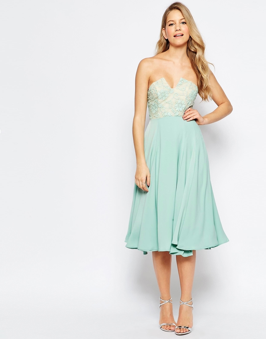 Violetta Midi Dress With Lace Bust Detail Mint - length: below the knee; sleeve style: strapless; neckline: sweetheart; predominant colour: pistachio; fit: fitted at waist & bust; style: fit & flare; fibres: polyester/polyamide - stretch; occasions: occasion; sleeve length: sleeveless; pattern type: fabric; pattern size: standard; pattern: patterned/print; texture group: other - light to midweight; embellishment: lace; season: s/s 2016; wardrobe: event; embellishment location: bust