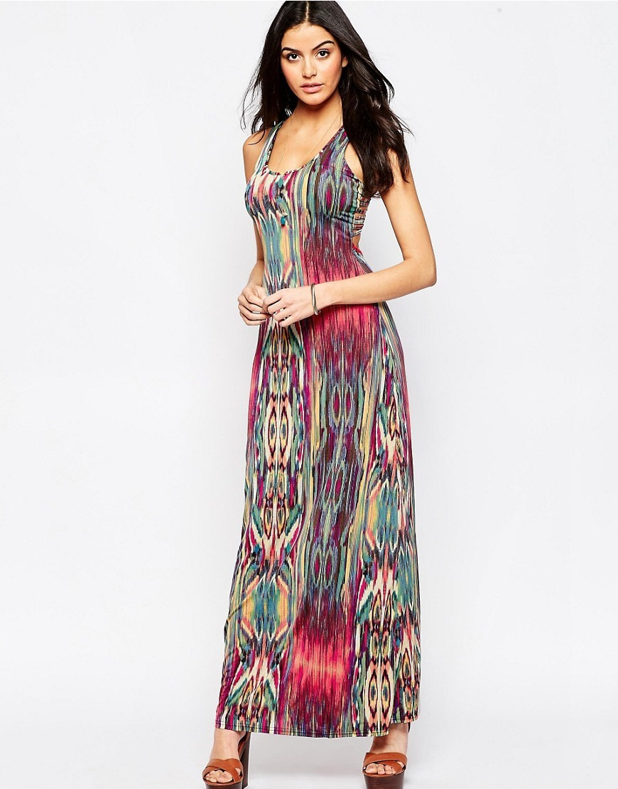 Printed Maxi Dress Pink Multi - sleeve style: sleeveless; style: maxi dress; length: ankle length; secondary colour: hot pink; predominant colour: mint green; occasions: evening; fit: body skimming; neckline: scoop; fibres: polyester/polyamide - stretch; sleeve length: sleeveless; pattern type: fabric; pattern: patterned/print; texture group: jersey - stretchy/drapey; multicoloured: multicoloured; season: s/s 2016; wardrobe: event