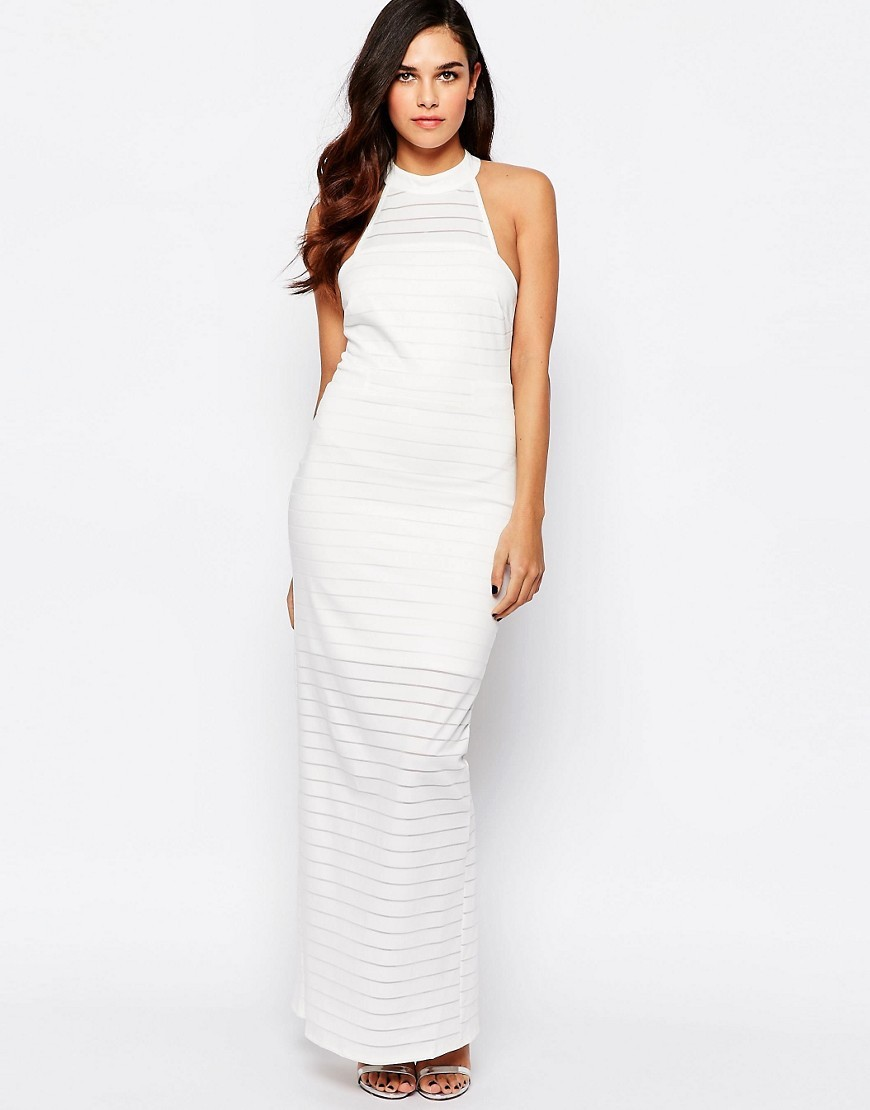 Michelle Keegan Loves Racer Back Maxi Dress 001 White - pattern: plain; sleeve style: sleeveless; style: maxi dress; predominant colour: white; occasions: evening; length: floor length; fit: body skimming; fibres: polyester/polyamide - stretch; sleeve length: sleeveless; pattern type: fabric; texture group: jersey - stretchy/drapey; season: s/s 2016; neckline: high halter neck