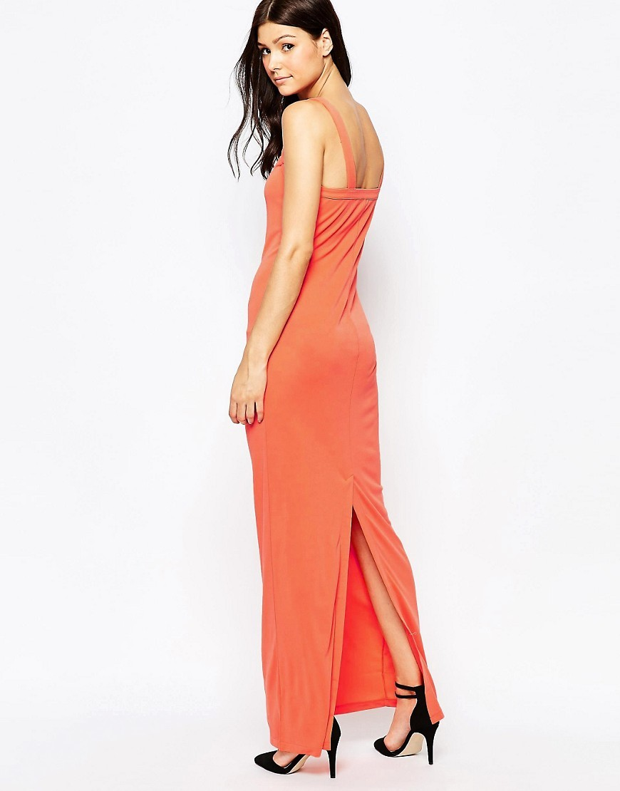 Mona Crepe Strappy Maxi Nasturium - neckline: low v-neck; sleeve style: standard vest straps/shoulder straps; pattern: plain; style: maxi dress; length: ankle length; back detail: back revealing; predominant colour: coral; fit: body skimming; fibres: polyester/polyamide - 100%; occasions: occasion; sleeve length: sleeveless; pattern type: fabric; texture group: other - light to midweight; season: s/s 2016; wardrobe: event