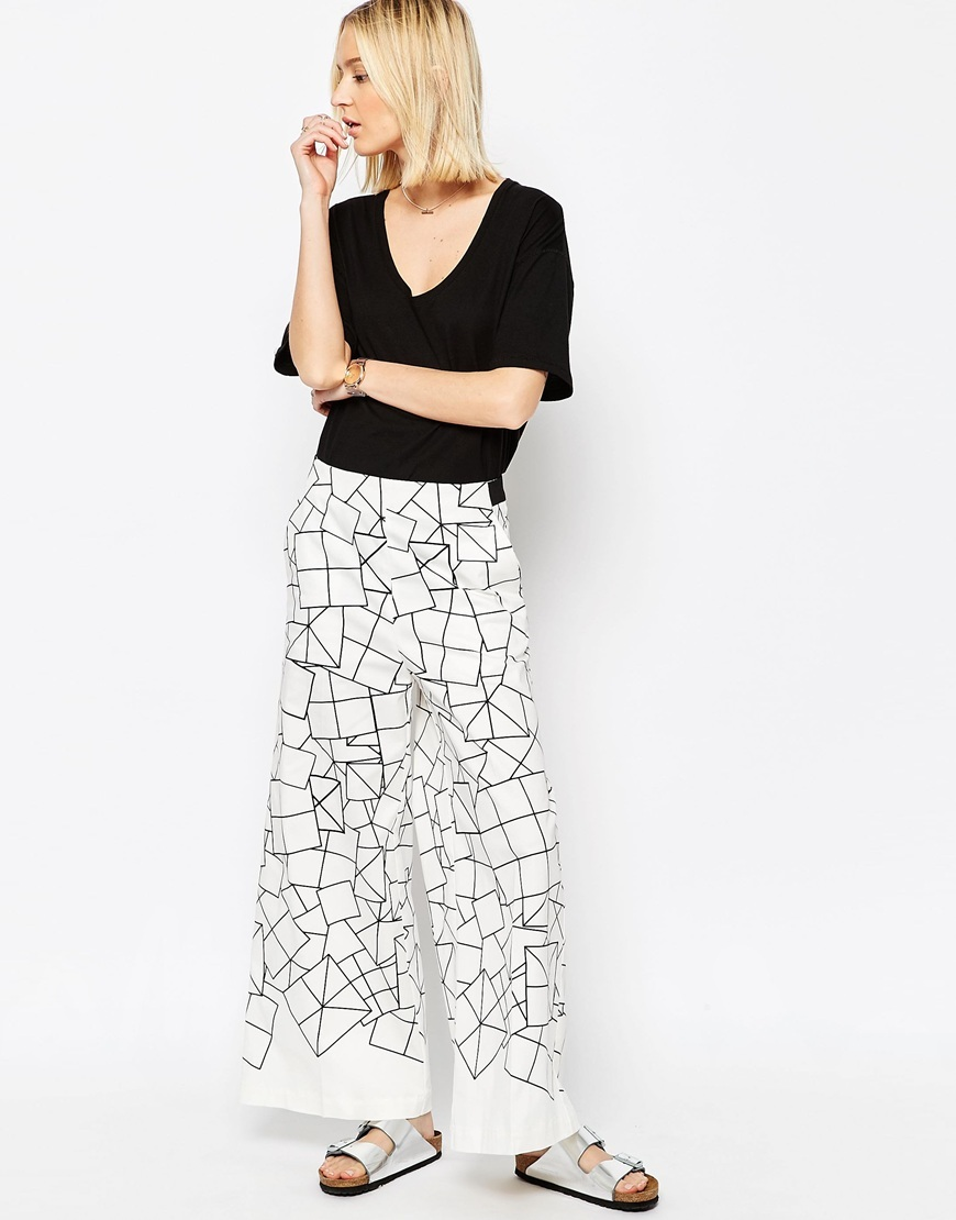 Wide Leg Trousers In Cube Print White/Black - style: palazzo; waist: mid/regular rise; predominant colour: ivory/cream; secondary colour: black; occasions: casual; length: ankle length; fibres: polyester/polyamide - 100%; trends: monochrome; fit: wide leg; pattern type: fabric; pattern: patterned/print; texture group: woven light midweight; pattern size: standard (bottom); season: s/s 2016; wardrobe: highlight