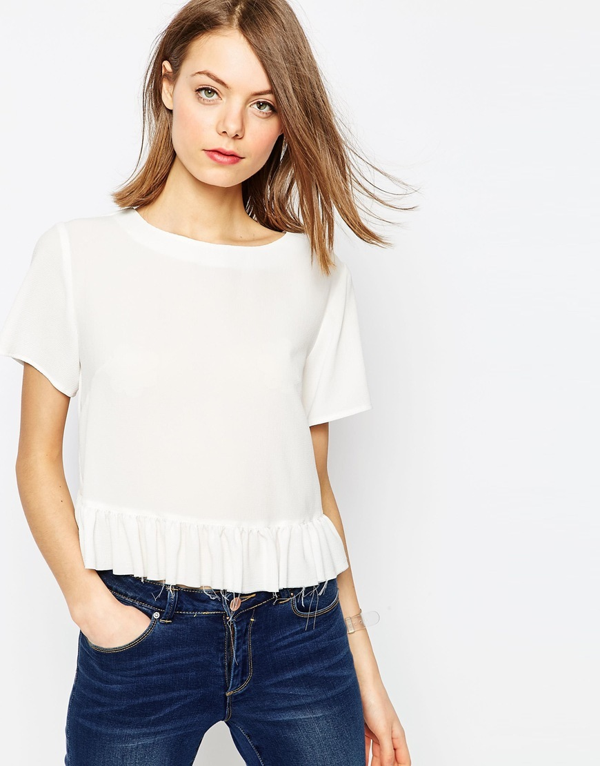 Ruffle Hem Tee With Raw Edge Detail Ivory - neckline: round neck; pattern: plain; style: t-shirt; predominant colour: ivory/cream; occasions: casual, creative work; length: standard; fibres: polyester/polyamide - 100%; fit: straight cut; sleeve length: short sleeve; sleeve style: standard; texture group: crepes; pattern type: fabric; season: s/s 2016