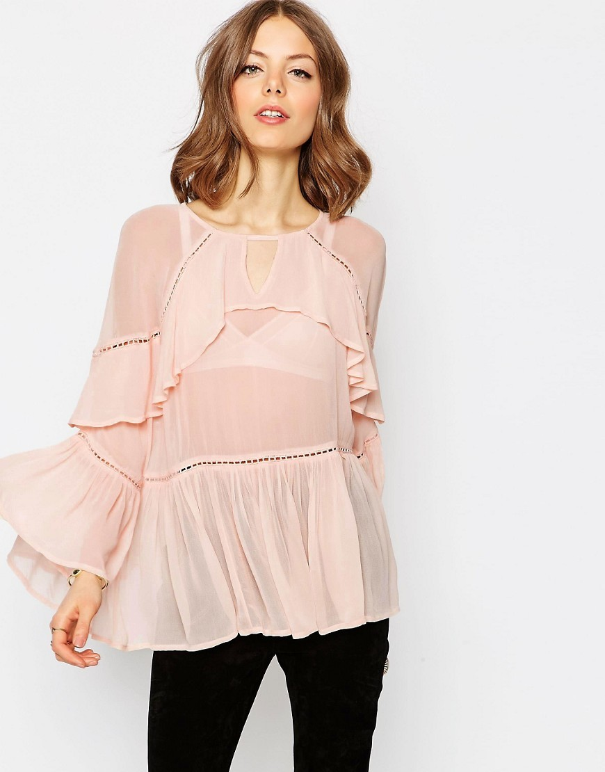 Tiered Ruffle Blouse Blush - neckline: round neck; sleeve style: angel/waterfall; pattern: plain; length: below the bottom; style: blouse; predominant colour: blush; occasions: casual, creative work; fibres: polyester/polyamide - 100%; fit: loose; sleeve length: long sleeve; texture group: sheer fabrics/chiffon/organza etc.; bust detail: bulky details at bust; pattern type: fabric; season: s/s 2016; wardrobe: highlight