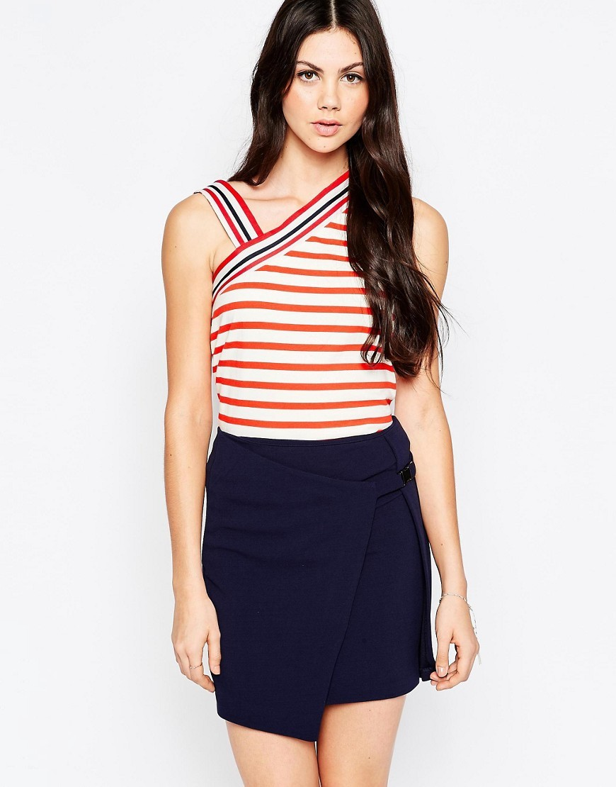 Stripes Vest Top With Asymmetric Shoulder Red - pattern: horizontal stripes; sleeve style: sleeveless; neckline: asymmetric; secondary colour: white; predominant colour: true red; occasions: casual, evening; length: standard; style: top; fibres: cotton - 100%; fit: body skimming; sleeve length: sleeveless; pattern type: fabric; texture group: jersey - stretchy/drapey; pattern size: big & busy (top); multicoloured: multicoloured; season: s/s 2016; wardrobe: highlight