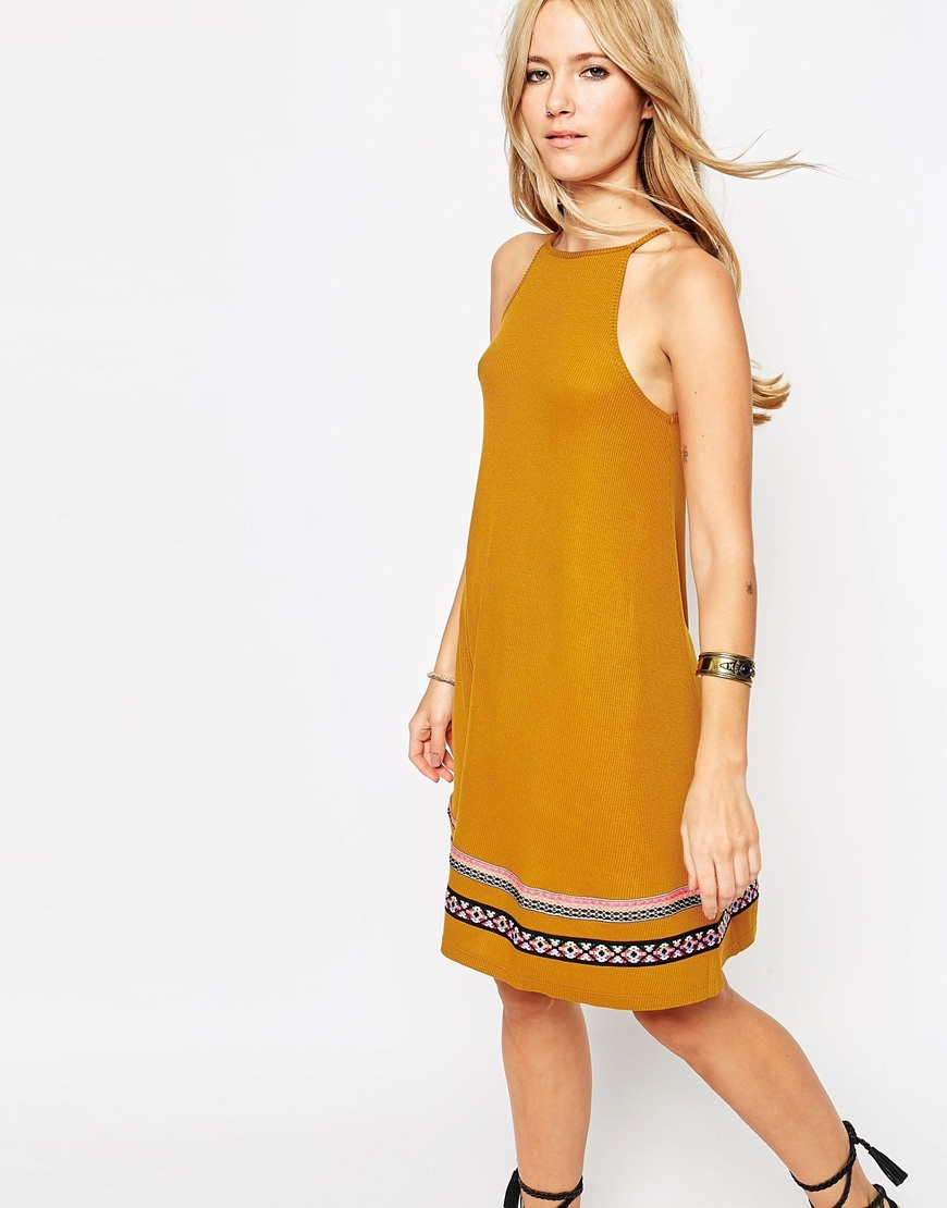 Rib Swing Sundress With Tape Trim Rust - style: shift; pattern: horizontal stripes; sleeve style: sleeveless; predominant colour: mustard; secondary colour: black; occasions: casual; length: on the knee; fit: body skimming; fibres: viscose/rayon - 100%; neckline: crew; sleeve length: sleeveless; texture group: crepes; pattern type: fabric; season: s/s 2016; wardrobe: highlight