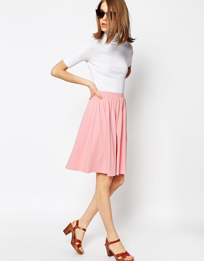Midi Skater Skirt In Jersey Pink - pattern: plain; fit: body skimming; waist: mid/regular rise; predominant colour: pink; occasions: casual; length: on the knee; style: fit & flare; fibres: viscose/rayon - stretch; pattern type: fabric; texture group: jersey - stretchy/drapey; season: s/s 2016; wardrobe: highlight