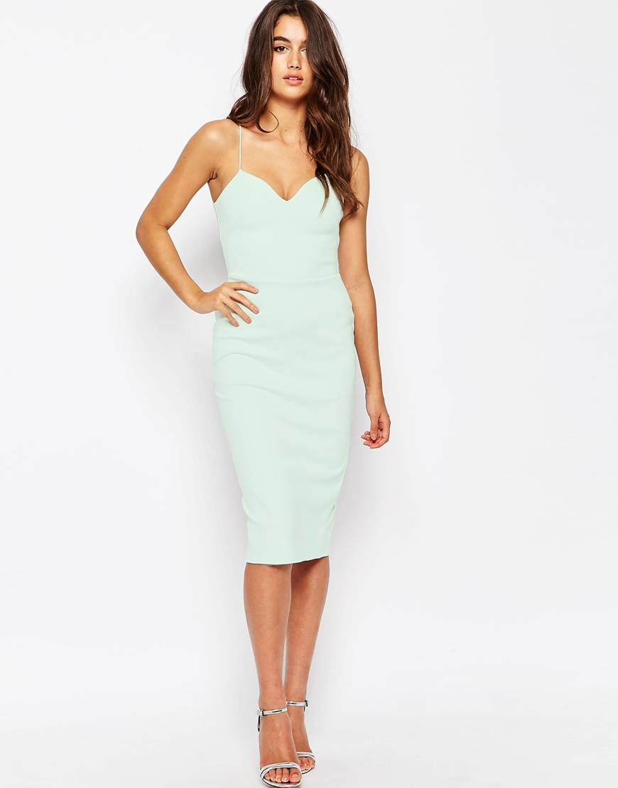 Deep Plunge Scuba Midi Bodycon Dress Mint - style: shift; neckline: low v-neck; sleeve style: spaghetti straps; fit: tailored/fitted; pattern: plain; predominant colour: pale blue; occasions: evening, occasion; length: on the knee; fibres: polyester/polyamide - stretch; sleeve length: sleeveless; pattern type: fabric; texture group: other - light to midweight; season: s/s 2016; wardrobe: event
