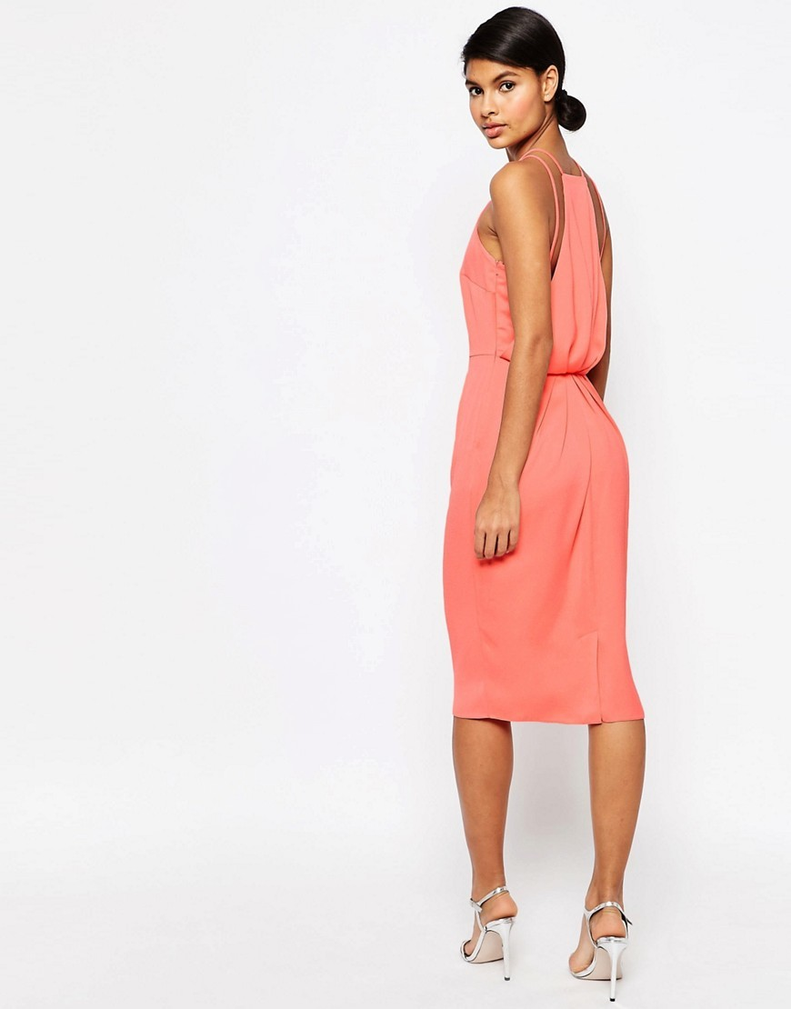 Drape Back Midi Pencil Dress Coral - style: shift; neckline: high square neck; pattern: plain; sleeve style: sleeveless; predominant colour: coral; occasions: evening; length: on the knee; fit: body skimming; fibres: polyester/polyamide - 100%; sleeve length: sleeveless; texture group: crepes; pattern type: fabric; season: s/s 2016; wardrobe: event