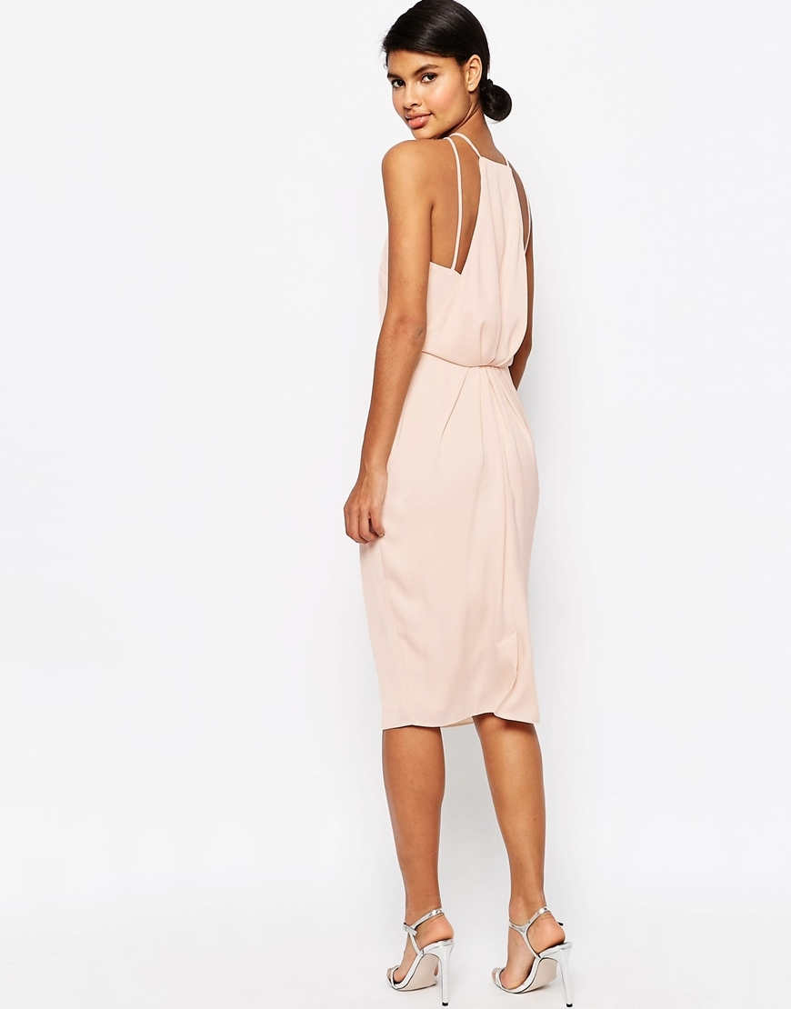 Drape Back Midi Pencil Dress Nude - style: shift; length: below the knee; pattern: plain; sleeve style: sleeveless; predominant colour: blush; occasions: evening; fit: body skimming; fibres: polyester/polyamide - 100%; neckline: crew; sleeve length: sleeveless; texture group: crepes; pattern type: fabric; season: s/s 2016