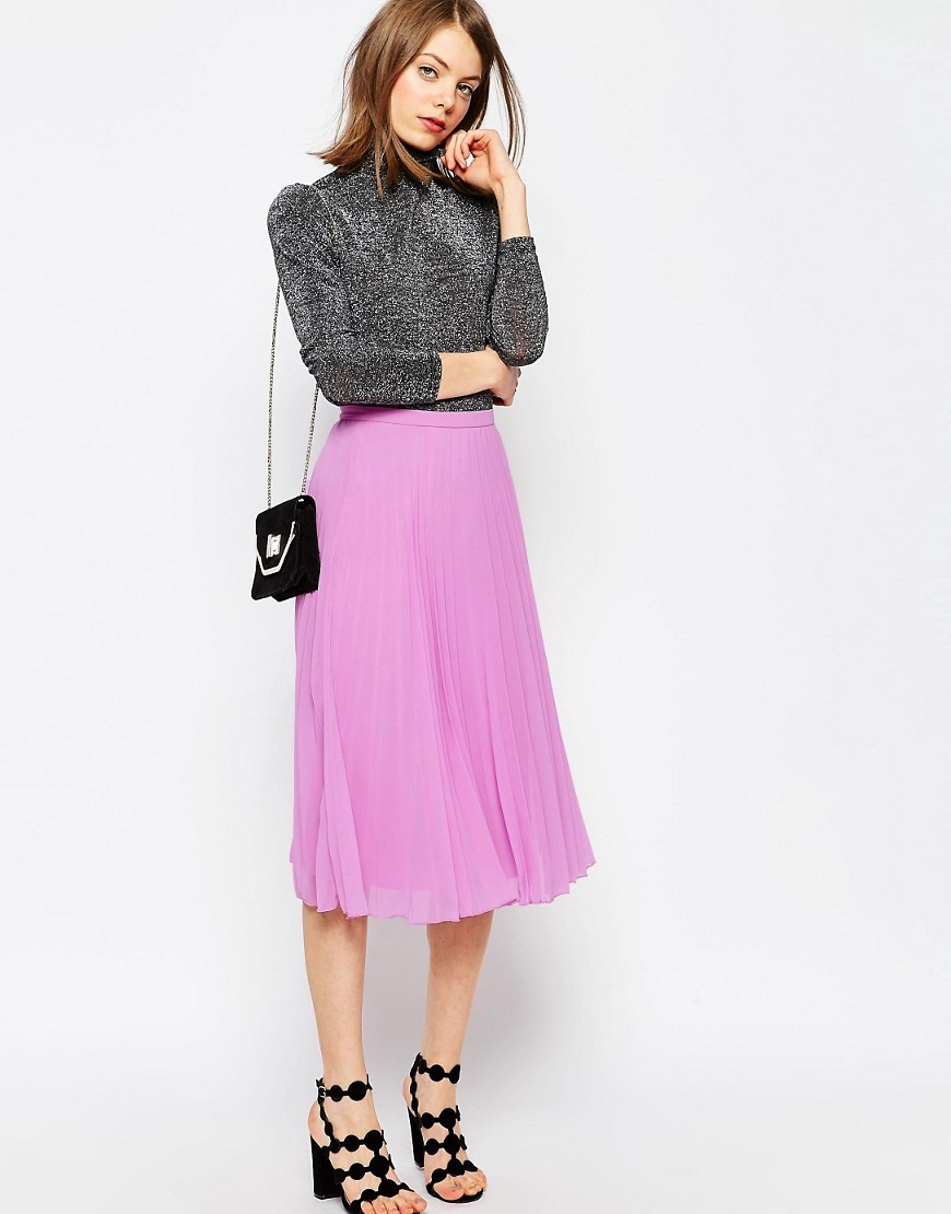 Pleated Midi Skirt Lilac - length: calf length; pattern: plain; fit: body skimming; style: pleated; waist: mid/regular rise; predominant colour: lilac; occasions: casual; fibres: polyester/polyamide - 100%; texture group: sheer fabrics/chiffon/organza etc.; pattern type: fabric; season: s/s 2016