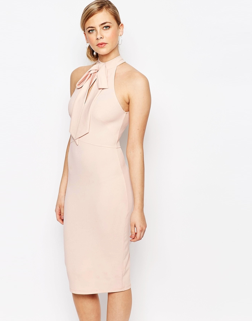 Bow Cut Out Midi Dress Blush - style: shift; length: below the knee; fit: tailored/fitted; pattern: plain; sleeve style: sleeveless; neckline: high neck; predominant colour: blush; fibres: polyester/polyamide - stretch; occasions: occasion; sleeve length: sleeveless; pattern type: fabric; texture group: other - light to midweight; embellishment: bow; season: s/s 2016; wardrobe: event; embellishment location: neck
