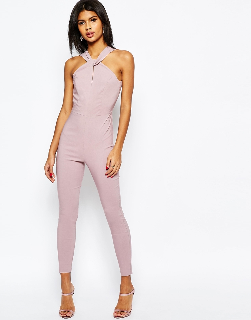 Sculpt Me Jumpsuit With Knot Front Dusky Lilac - length: standard; fit: tight; pattern: plain; sleeve style: sleeveless; predominant colour: lilac; occasions: evening; fibres: viscose/rayon - stretch; sleeve length: sleeveless; texture group: jersey - clingy; style: jumpsuit; pattern type: fabric; season: s/s 2016; neckline: high halter neck; wardrobe: event