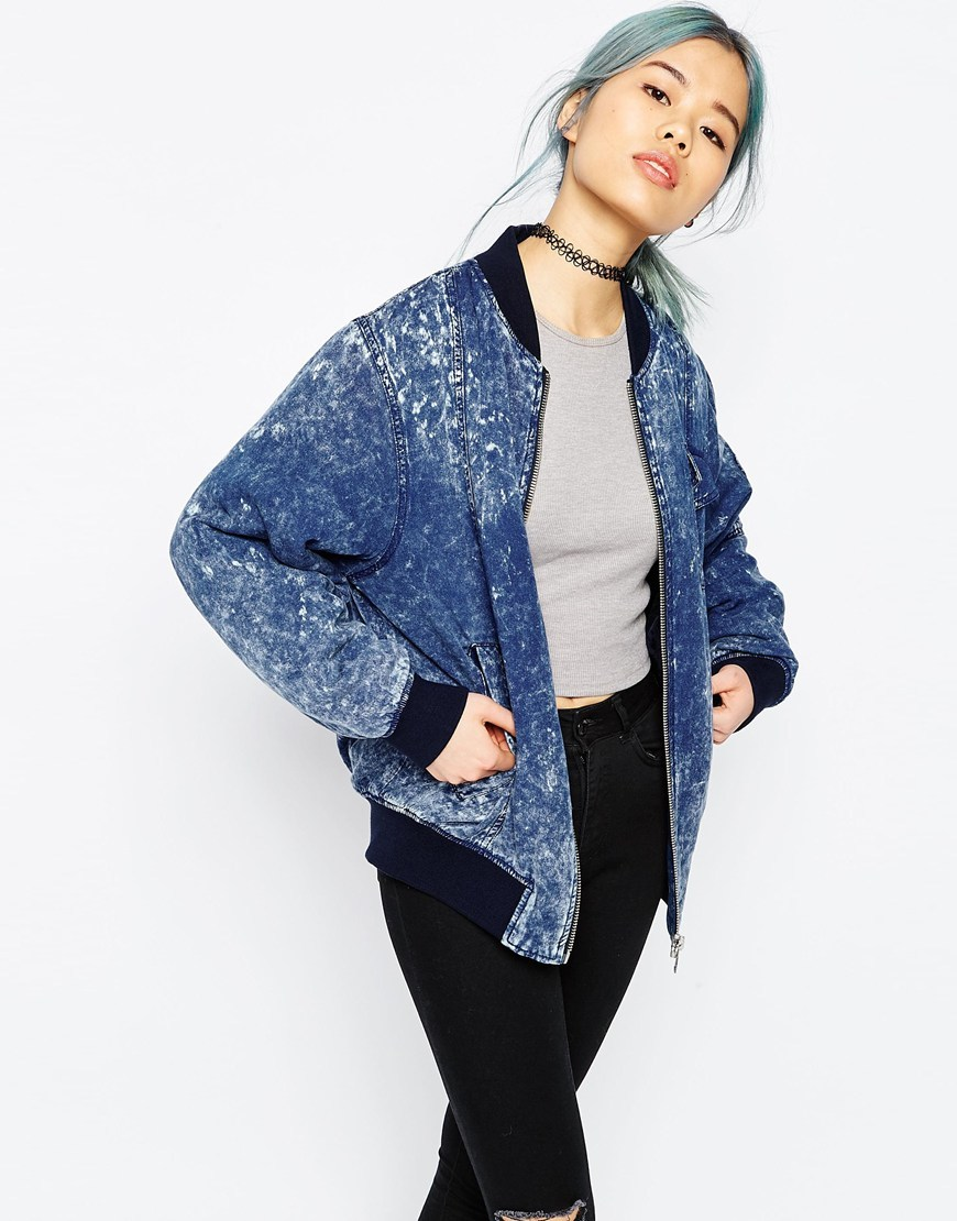 Bomber Jacket In Washed Denim Look Denim Blue - pattern: plain; collar: round collar/collarless; style: bomber; predominant colour: denim; occasions: casual; length: standard; fit: straight cut (boxy); fibres: cotton - mix; sleeve length: long sleeve; sleeve style: standard; texture group: denim; collar break: high; pattern type: fabric; season: s/s 2016; wardrobe: basic