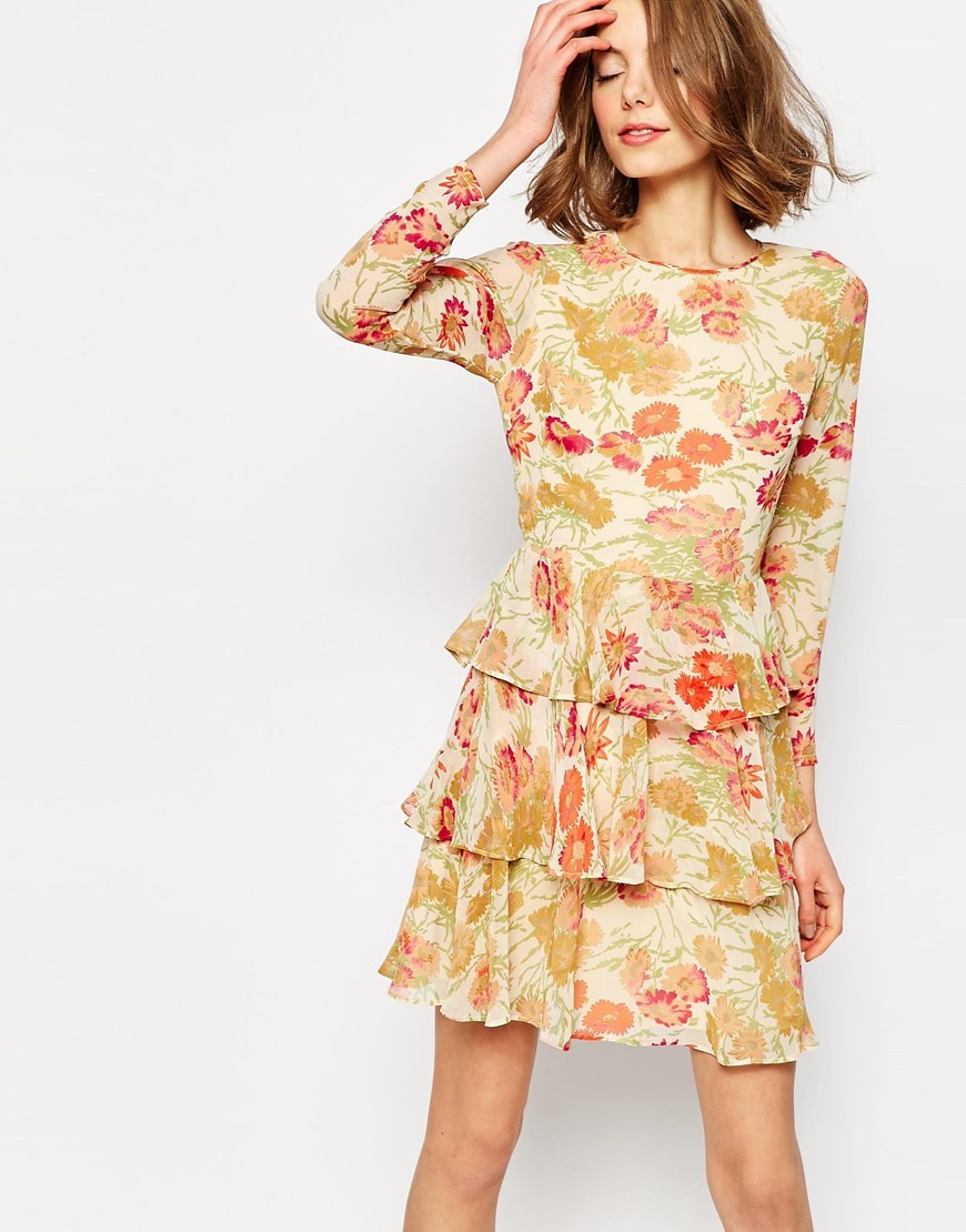 Tiered Dress In Floral Print Multi - length: mid thigh; predominant colour: primrose yellow; occasions: evening, creative work; fit: fitted at waist & bust; style: fit & flare; fibres: polyester/polyamide - 100%; neckline: crew; hip detail: adds bulk at the hips; sleeve length: long sleeve; sleeve style: standard; pattern type: fabric; pattern size: standard; pattern: patterned/print; texture group: other - light to midweight; multicoloured: multicoloured; season: s/s 2016; wardrobe: highlight