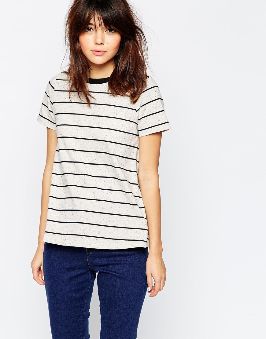 Swing T Shirt In Textured Stripe Stone/Black - pattern: horizontal stripes; style: t-shirt; predominant colour: stone; secondary colour: black; occasions: casual; length: standard; fibres: cotton - mix; fit: body skimming; neckline: crew; sleeve length: short sleeve; sleeve style: standard; pattern type: fabric; pattern size: standard; texture group: jersey - stretchy/drapey; multicoloured: multicoloured; season: s/s 2016; wardrobe: basic