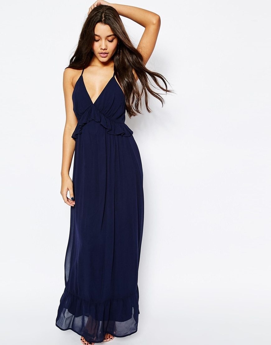 Woven Cami Maxi Dress With Frill Detail Navy - neckline: low v-neck; sleeve style: spaghetti straps; pattern: plain; style: maxi dress; waist detail: flattering waist detail; predominant colour: navy; occasions: evening; length: floor length; fit: body skimming; fibres: viscose/rayon - 100%; sleeve length: sleeveless; texture group: sheer fabrics/chiffon/organza etc.; pattern type: fabric; season: s/s 2016; wardrobe: event