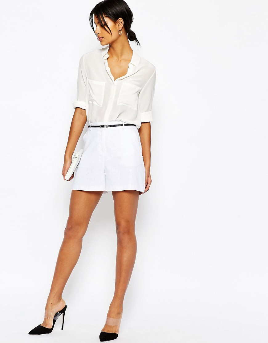 Tailored Linen Short With Belt White - pattern: plain; waist: high rise; predominant colour: white; occasions: casual, evening; fibres: linen - 100%; texture group: linen; pattern type: fabric; season: s/s 2016; wardrobe: basic; style: shorts; length: short shorts; fit: a-line