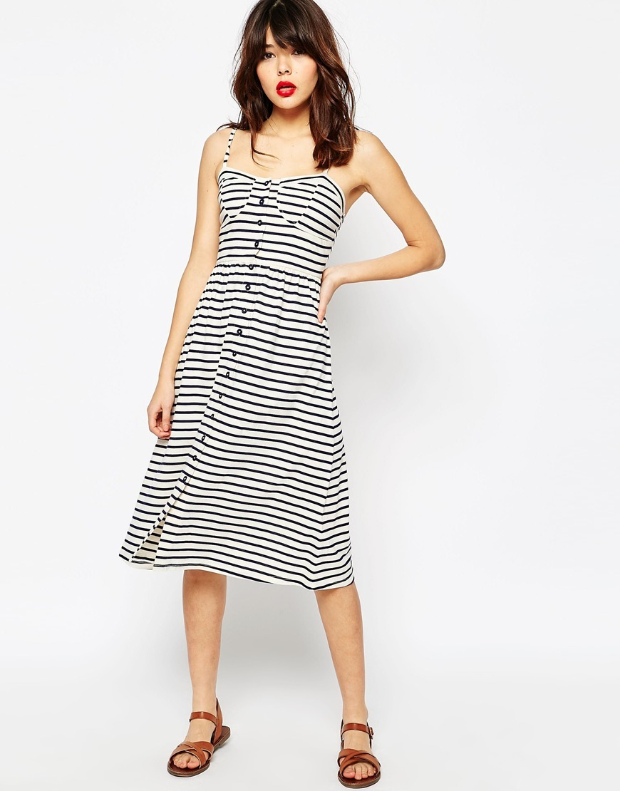 Midi Sundress In Stripe With Button Front Multi - style: shift; length: below the knee; sleeve style: spaghetti straps; pattern: horizontal stripes; neckline: sweetheart; secondary colour: white; predominant colour: navy; occasions: casual; fit: soft a-line; fibres: cotton - mix; sleeve length: sleeveless; pattern type: fabric; pattern size: light/subtle; texture group: jersey - stretchy/drapey; season: s/s 2016; wardrobe: basic