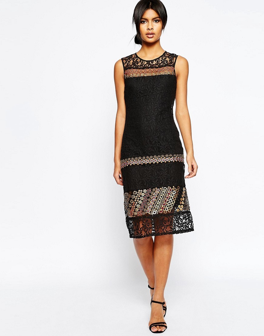 Lace Column Dress With Embellishment Black - style: shift; fit: tailored/fitted; pattern: plain; sleeve style: sleeveless; predominant colour: black; occasions: evening; length: on the knee; fibres: cotton - mix; neckline: crew; sleeve length: sleeveless; texture group: lace; pattern type: fabric; embellishment: lace; season: s/s 2016