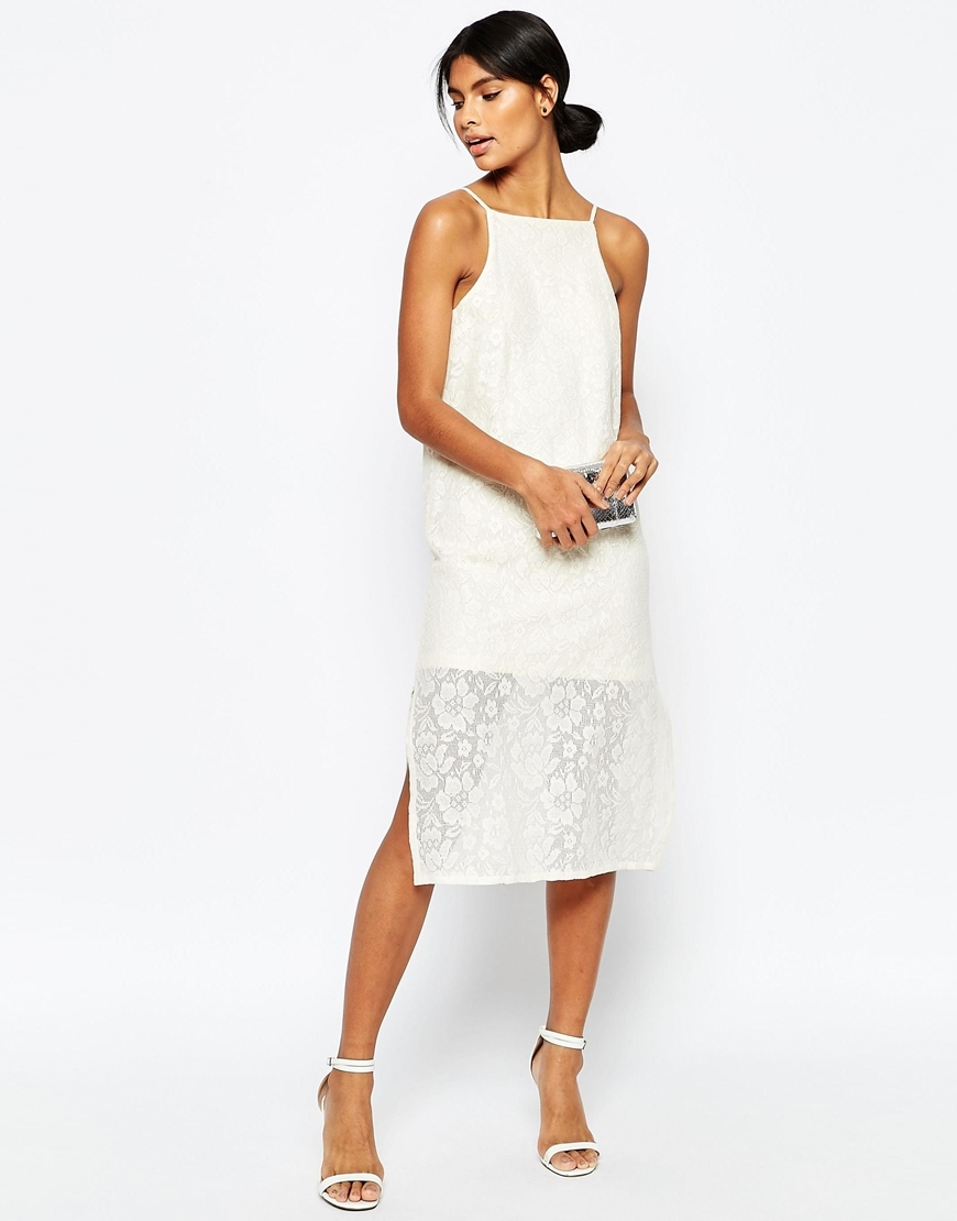 Column Midi Cami Dress In Cotton Lace Cream - style: shift; length: below the knee; neckline: high square neck; sleeve style: sleeveless; predominant colour: white; occasions: evening, occasion; fit: body skimming; fibres: cotton - mix; sleeve length: sleeveless; texture group: lace; pattern type: fabric; pattern: patterned/print; season: s/s 2016; wardrobe: event