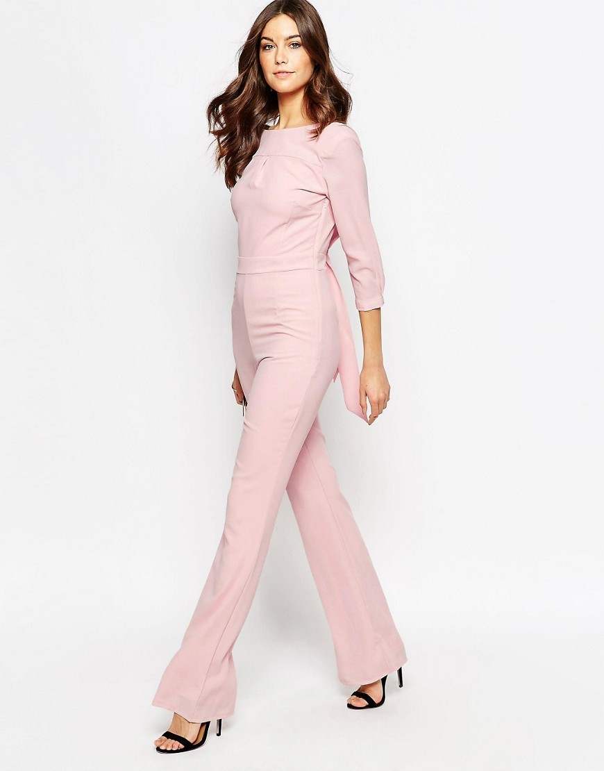 Nude Jumpsuit Pink - length: standard; pattern: plain; waist detail: belted waist/tie at waist/drawstring; predominant colour: blush; occasions: casual; fit: body skimming; fibres: polyester/polyamide - 100%; neckline: crew; sleeve length: 3/4 length; sleeve style: standard; style: jumpsuit; pattern type: fabric; texture group: jersey - stretchy/drapey; season: s/s 2016