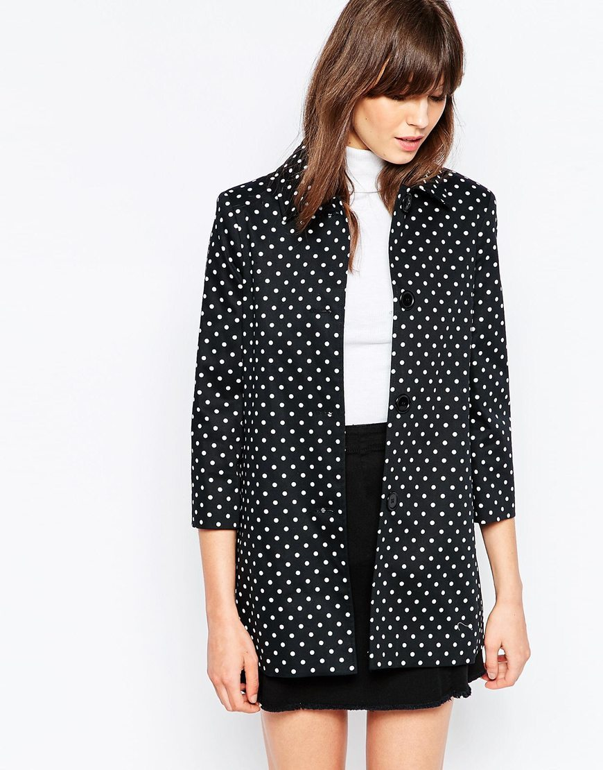 Short A Line Coat In Polka Dot Black/White - length: below the bottom; style: single breasted; pattern: polka dot; secondary colour: white; predominant colour: black; occasions: casual; fit: tailored/fitted; fibres: cotton - stretch; collar: shirt collar/peter pan/zip with opening; sleeve length: 3/4 length; sleeve style: standard; collar break: high; pattern type: fabric; texture group: woven bulky/heavy; multicoloured: multicoloured; season: s/s 2016; wardrobe: highlight