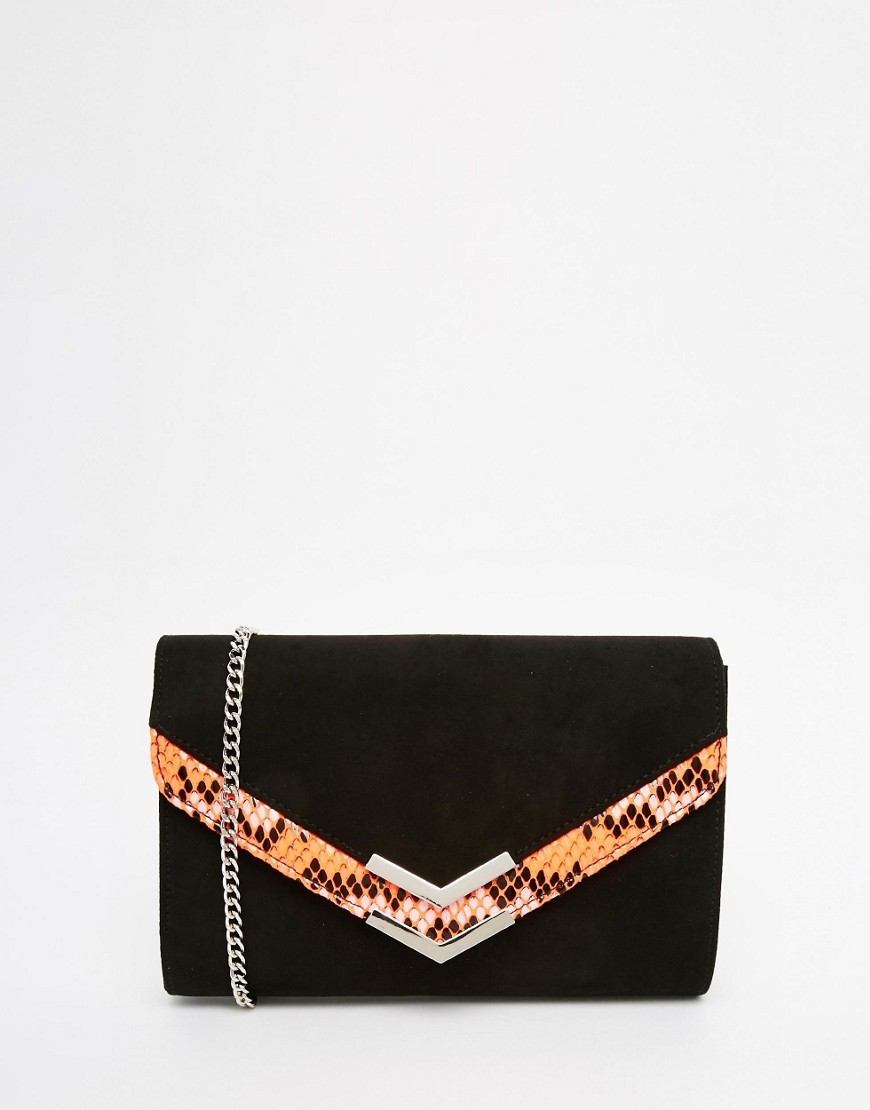 Envelope Clutch Bag With Bright Faux Snake Panel Black / Pink - secondary colour: bright orange; predominant colour: black; occasions: evening, occasion; type of pattern: light; style: clutch; length: hand carry; size: small; material: faux leather; pattern: animal print; finish: plain; season: s/s 2016; wardrobe: event