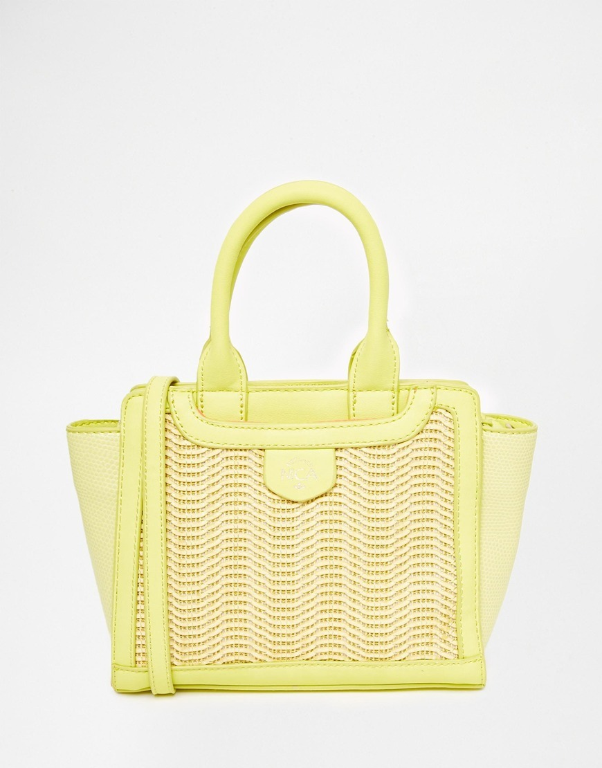 Mini Tote Bag Lemon Mix - secondary colour: ivory/cream; predominant colour: primrose yellow; occasions: casual, creative work; type of pattern: light; style: tote; length: shoulder (tucks under arm); size: standard; material: faux leather; pattern: plain; finish: plain; season: s/s 2016; wardrobe: highlight