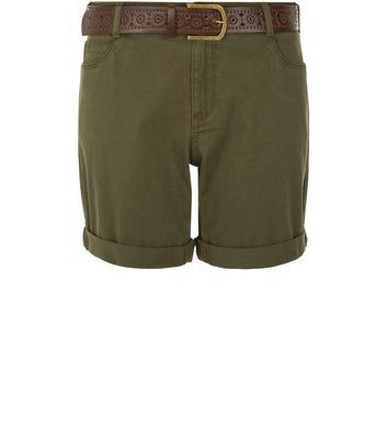 Khaki Belted Shorts - pattern: plain; waist: mid/regular rise; predominant colour: khaki; occasions: casual; fibres: cotton - 100%; texture group: cotton feel fabrics; pattern type: fabric; season: s/s 2016; wardrobe: basic; style: shorts; length: mid thigh shorts; fit: standard