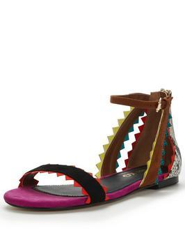 Felicity Flat Sandal - predominant colour: black; secondary colour: black; occasions: casual, holiday; material: faux leather; heel height: flat; ankle detail: ankle strap; heel: block; toe: open toe/peeptoe; style: strappy; finish: plain; pattern: plain; multicoloured: multicoloured; season: s/s 2016; trends: festival