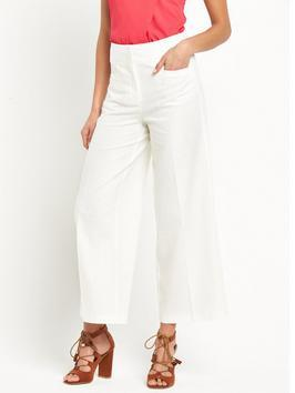 Linen Crop Trouser - pattern: plain; waist: high rise; predominant colour: white; occasions: casual, holiday, creative work; length: ankle length; fibres: linen - mix; texture group: linen; fit: baggy; pattern type: fabric; style: standard; season: s/s 2016; wardrobe: basic