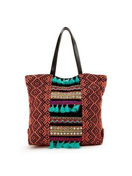 Pom Pom &Amp; Tassel Detail Beach Bag - secondary colour: turquoise; predominant colour: tan; occasions: casual; type of pattern: heavy; style: tote; length: handle; size: standard; material: fabric; finish: plain; pattern: patterned/print; embellishment: pompom; multicoloured: multicoloured; season: s/s 2016; wardrobe: highlight
