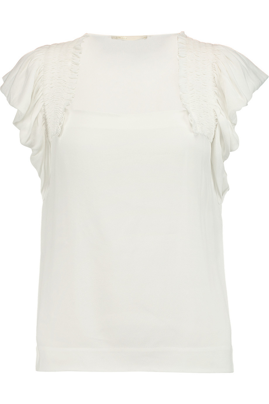 Louve Pleated Chiffon Top Ecru - sleeve style: angel/waterfall; pattern: plain; neckline: high neck; predominant colour: ivory/cream; occasions: casual; length: standard; style: top; fibres: viscose/rayon - 100%; fit: body skimming; sleeve length: short sleeve; texture group: sheer fabrics/chiffon/organza etc.; pattern type: fabric; season: s/s 2016; wardrobe: basic