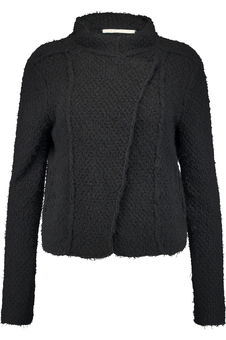 Macao Knitted Cotton Blend Jacket Black - collar: asymmetric biker; style: boxy; pattern: herringbone/tweed; predominant colour: black; occasions: casual, creative work; length: standard; fit: straight cut (boxy); fibres: wool - mix; sleeve length: long sleeve; sleeve style: standard; texture group: knits/crochet; collar break: high/illusion of break when open; pattern type: fabric; pattern size: light/subtle; season: s/s 2016; wardrobe: basic
