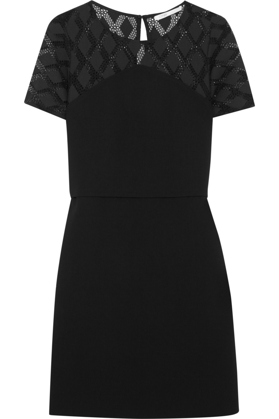 Rimini Crochet Trimmed Crepe Dress Black - style: shift; length: mid thigh; neckline: round neck; fit: tailored/fitted; pattern: plain; predominant colour: black; occasions: evening; fibres: polyester/polyamide - mix; sleeve length: short sleeve; sleeve style: standard; texture group: crepes; pattern type: fabric; embellishment: lace; season: s/s 2016; wardrobe: event; embellishment location: shoulder